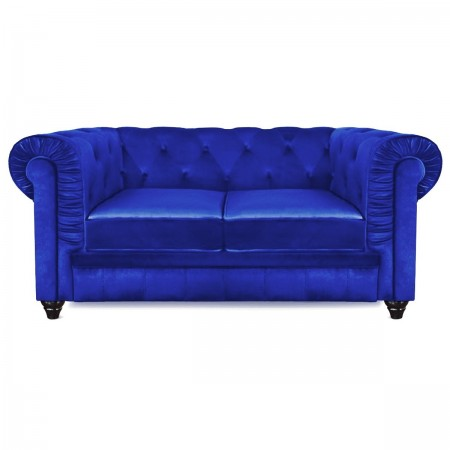 Canap 2 Places Design Chesterfield Bleu Velours