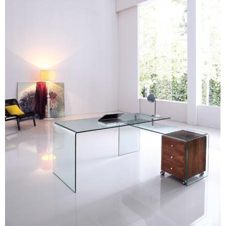Bureau design en verre avec retour et caisson Ora