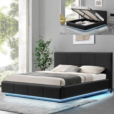 Cama de diseño Alexi con somier y caja de almacenamiento