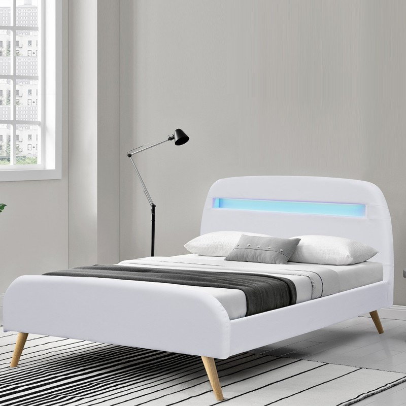 lit sommier scandinave avec led. Black Bedroom Furniture Sets. Home Design Ideas