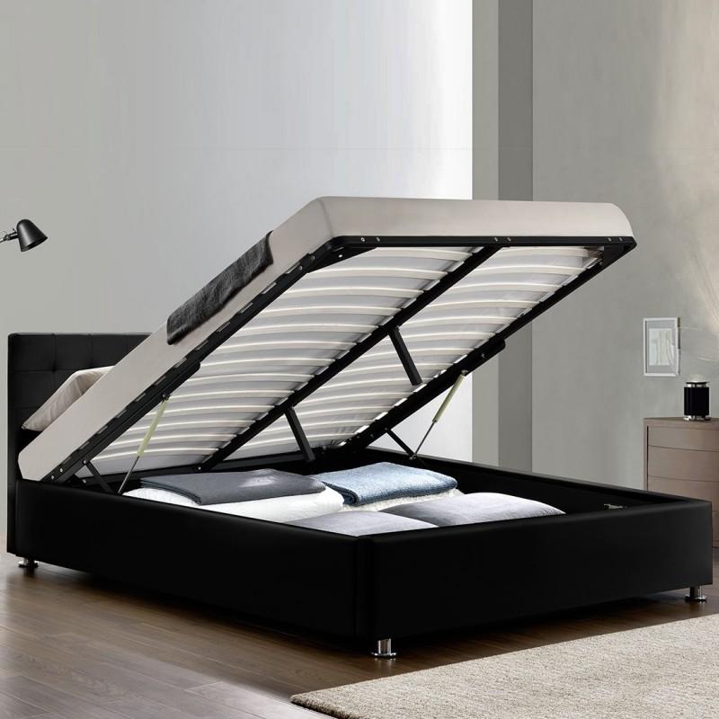 Lit-complet-sommier-relevable-tête-de-lit-cadre de lit-NOIR