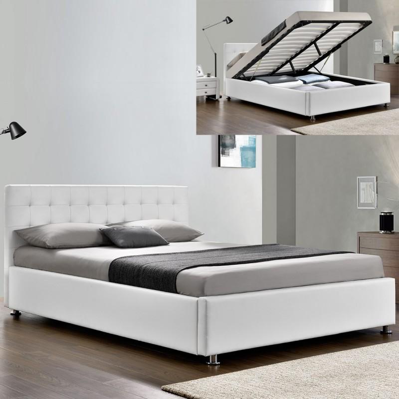 Lit-complet-sommier-relevable-tête-de-lit-cadre de lit-BLANC
