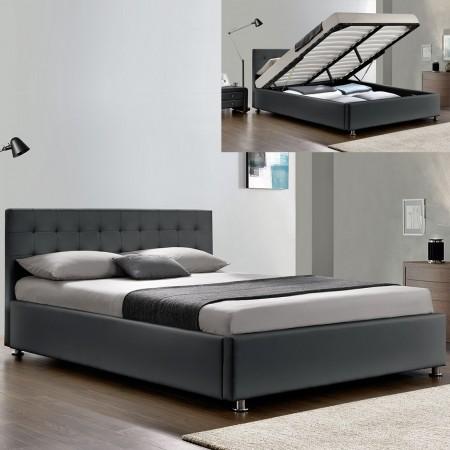 Lit-complet-sommier-relevable-tête-de-lit-cadre de lit-GRIS