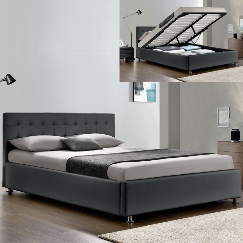 lit complet sommier relevable t te de lit cadre de lit. Black Bedroom Furniture Sets. Home Design Ideas