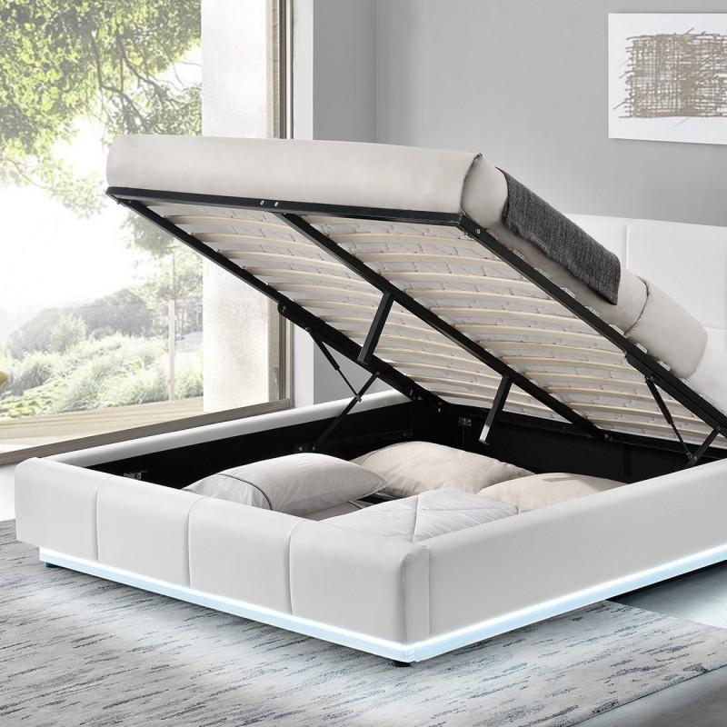 lit design alex avec sommier relevable et led int gr meublerdesign. Black Bedroom Furniture Sets. Home Design Ideas