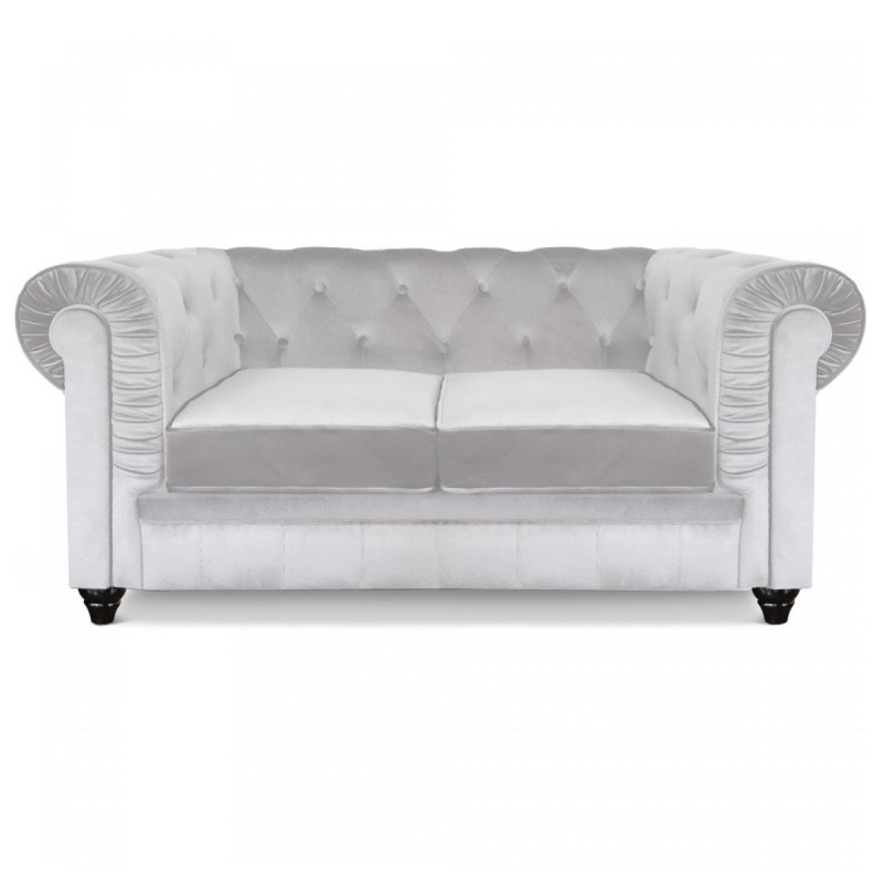 canap 2 places design chesterfield blanc velours. Black Bedroom Furniture Sets. Home Design Ideas