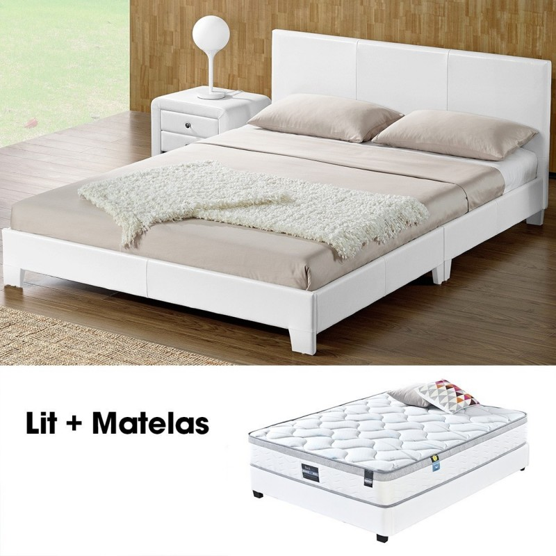 lit double 160 avec matelas design simpli blanc meublerdesign. Black Bedroom Furniture Sets. Home Design Ideas