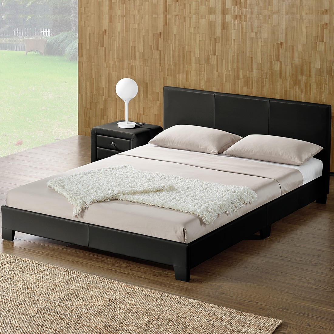 lit complet matelas et sommier simpli 160x200 noir. Black Bedroom Furniture Sets. Home Design Ideas