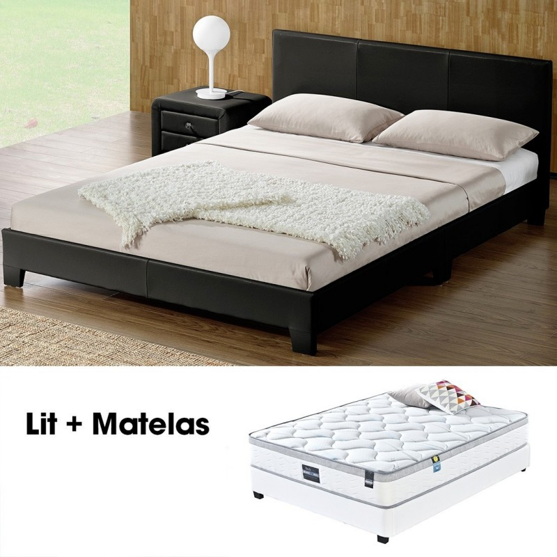 lit double 160 avec matelas lit simpli noir meublerdesign. Black Bedroom Furniture Sets. Home Design Ideas