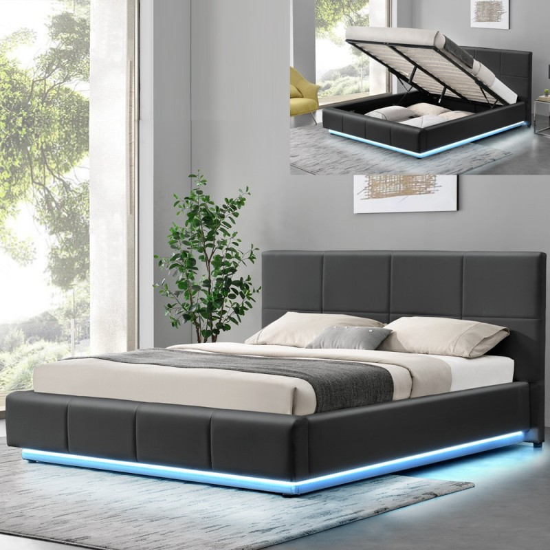 Lit design alexi avec rangement int gr meublerdesign - Lit design italien avec sommier inclus ...