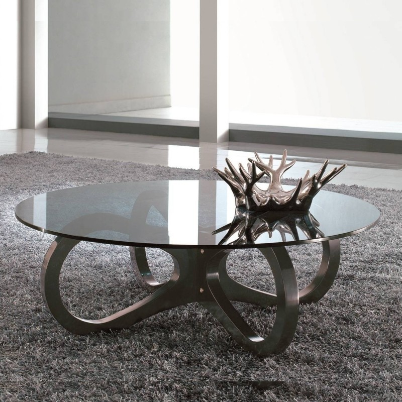 Table basse de salon ronde design arcade for Table ronde verre design