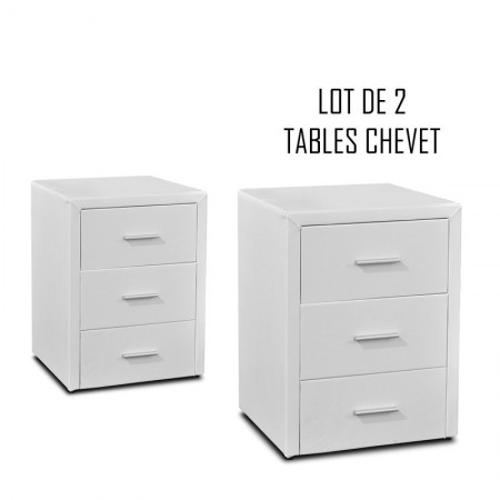 Table chevet 3 tiroirs Kasi Lot de 2 blanc