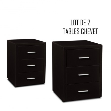 Table chevet 3 tiroirs Kasi Lot de 2 noir