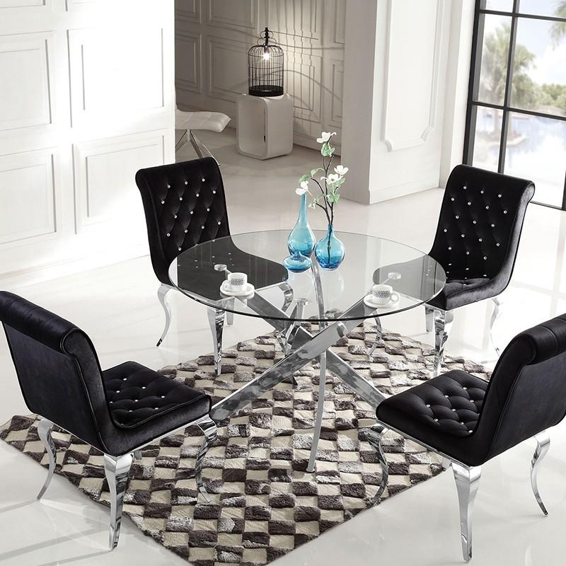 Table à manger ronde en verre CROSI