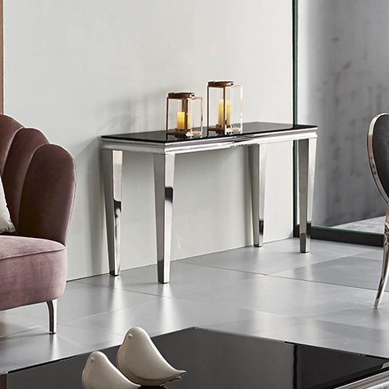 Chrom- und Glas-Design-Konsole ERA