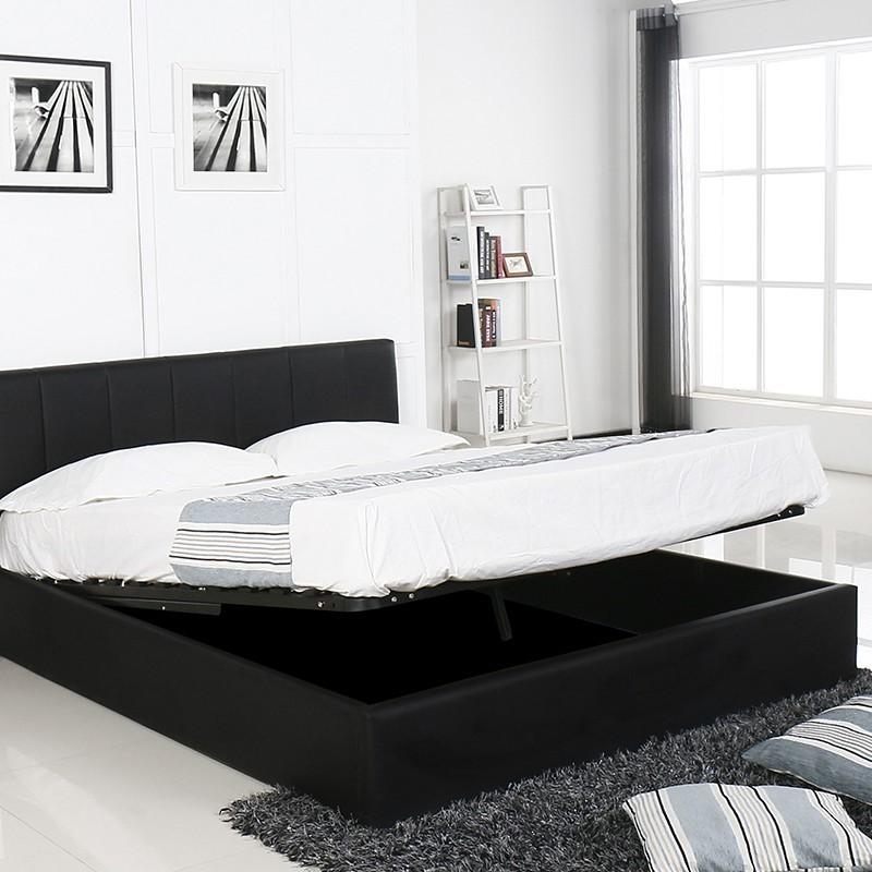lit coffre avec sommier relevable. Black Bedroom Furniture Sets. Home Design Ideas