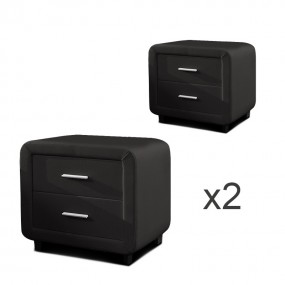 Table chevet design ZEST Lot de 2 noir