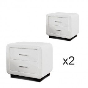 Table chevet design ZEST Lot de 2 Blanc