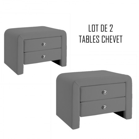 Table chevet design gris Eva x2