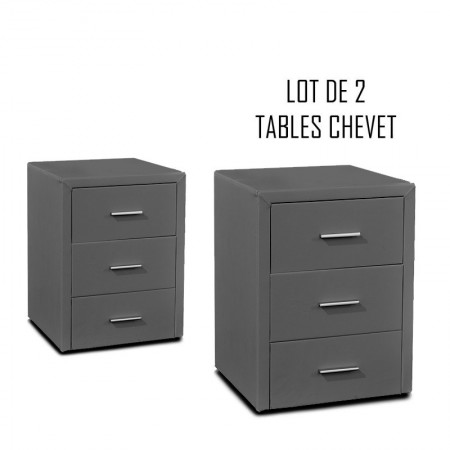 Table chevet 3 tiroirs Kasi Lot de 2 gris
