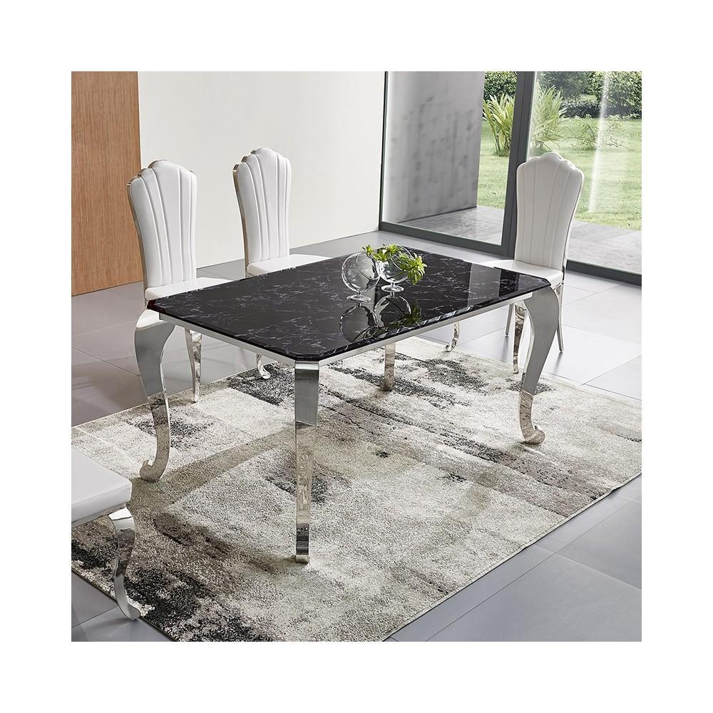 Table de salle manger effet marbre noir - Table salle a manger plateau marbre ...