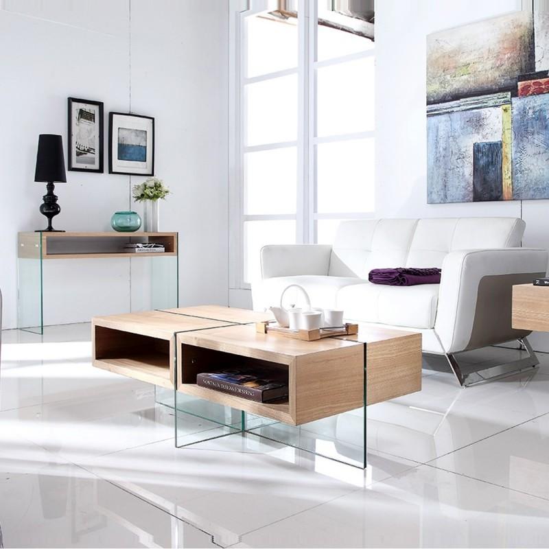 Table basse design en verre et bois