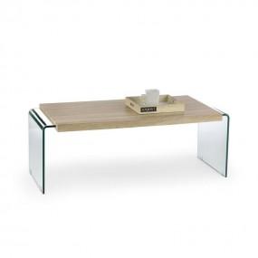 Mesa de centro de cristal y madera GLORI