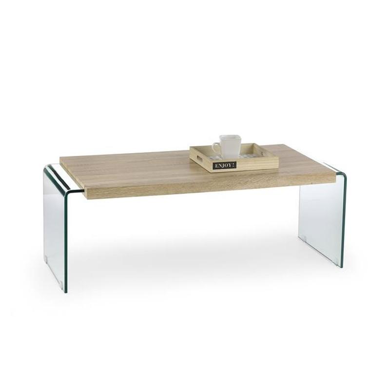 GLORI Mesa de centro de cristal y madera