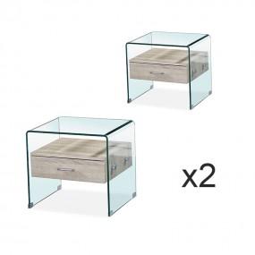 Lot de deux Table de chevet en verre ELSA