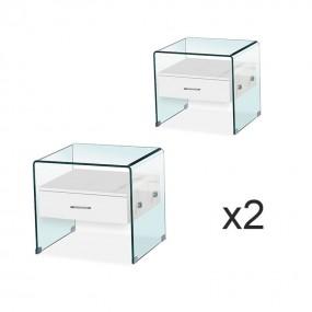 Set di comodini in vetro bianco ELSA