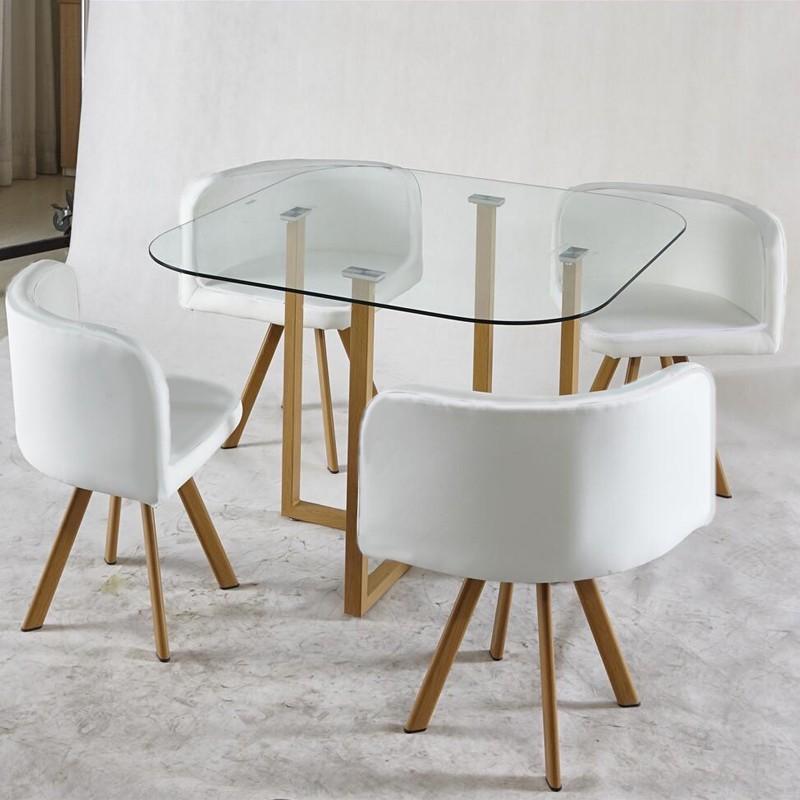 ENSEMBLE TABLE + 4 CHAISES ENCASTRABLE POPUP