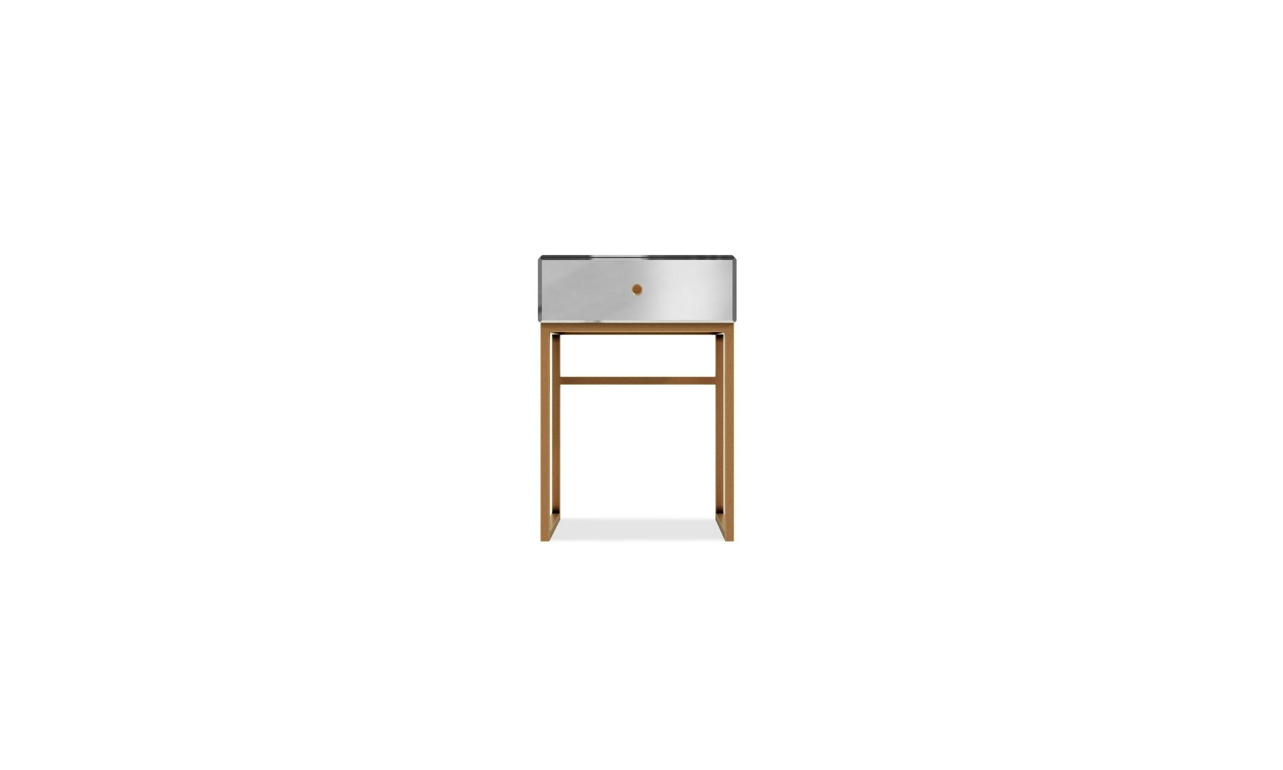 Table de chevet miroir pied or MIRABEL