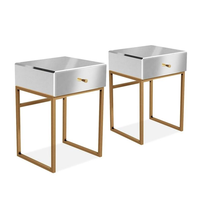 table de chevet miroir pied or