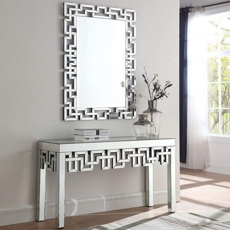 Ensemble Console et miroir design en verre