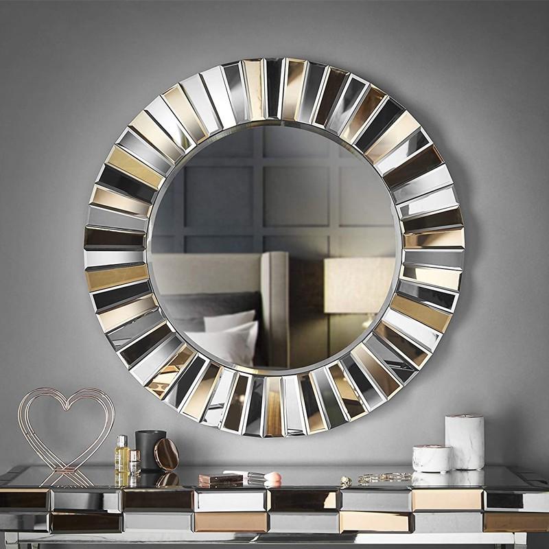 Espejo de pared redondo efecto 3D, salón, pasillo (oro rosa)
