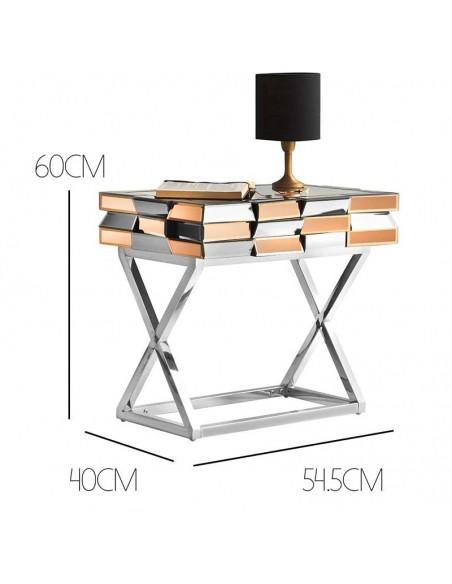 Table de chevet en verre miroir 3D