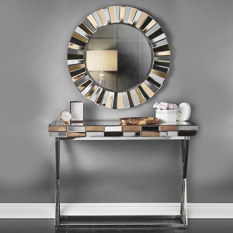Ensemble Console et miroir design en verre 3D