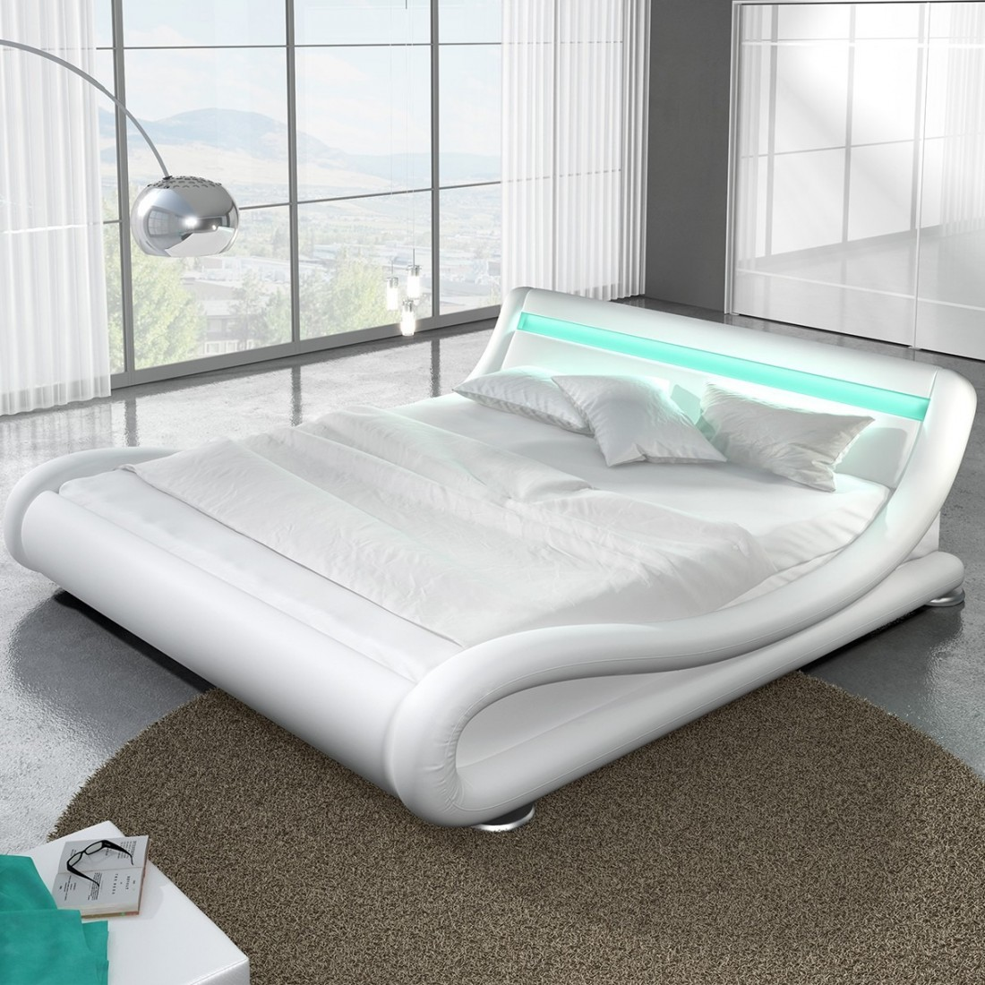 lit design led moderne avec sommier julia meublerdesign. Black Bedroom Furniture Sets. Home Design Ideas