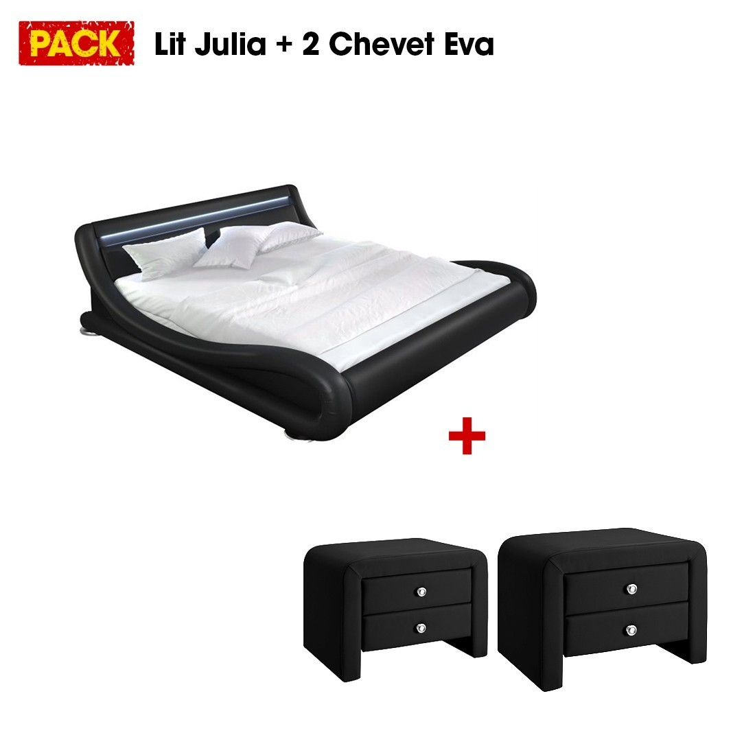 lit design julia 140 avec 2 tables de chevet noir. Black Bedroom Furniture Sets. Home Design Ideas
