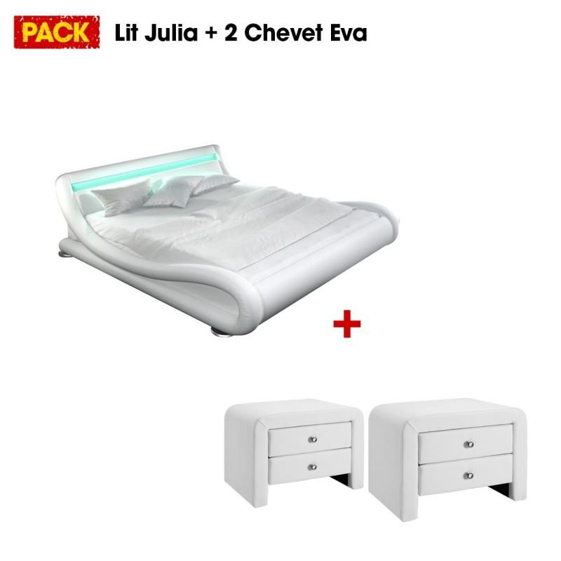 lit et chevet design blanc