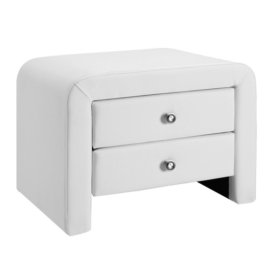 Lit design julia 140 avec 2 tables de chevet blanc - Table de chevet solde ...