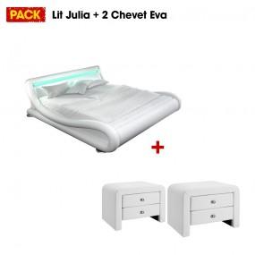 Cama de diseño Julia 160 con 2 mesitas de noche blancas