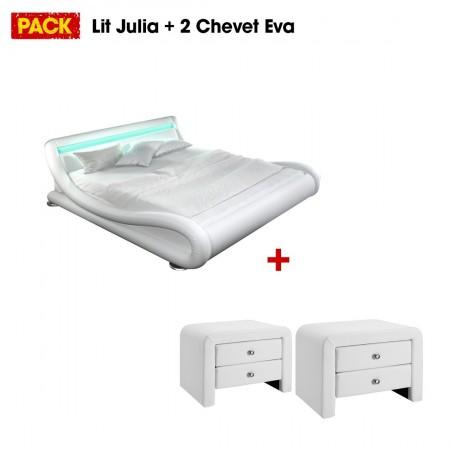 Lit design julio160 avec 2 tables chevet eva blanc - Lit et chevet integre ...