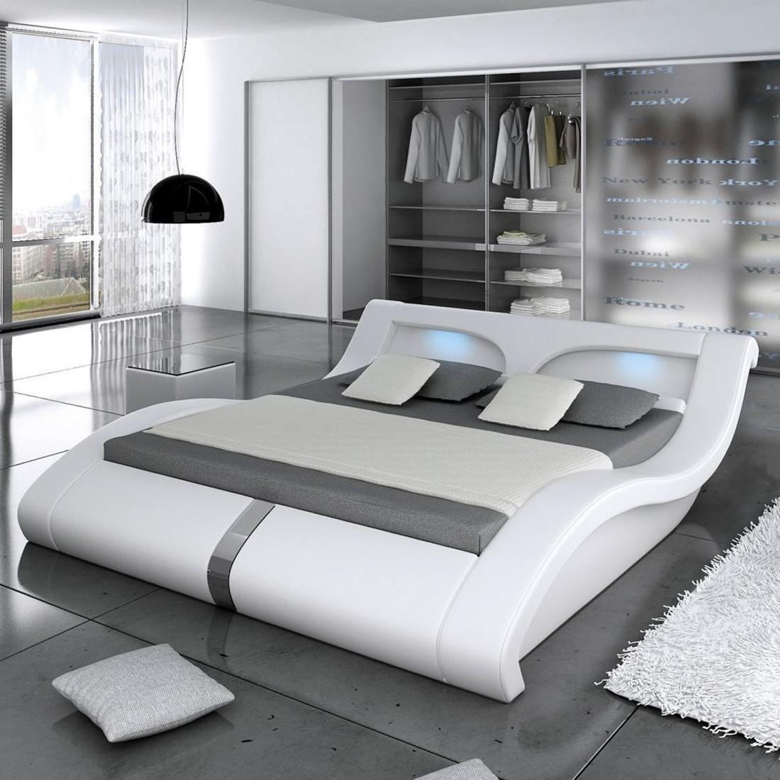 lit 2 places design lit design 2 places simili blanc. Black Bedroom Furniture Sets. Home Design Ideas