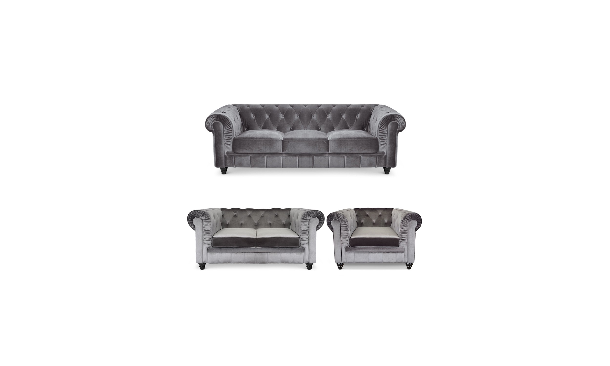 Pack Canapé Chesterfield 1+2+3 Silver Velours