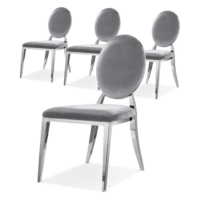 ERA Silber Samt Medaillon Stühle Satz von 4