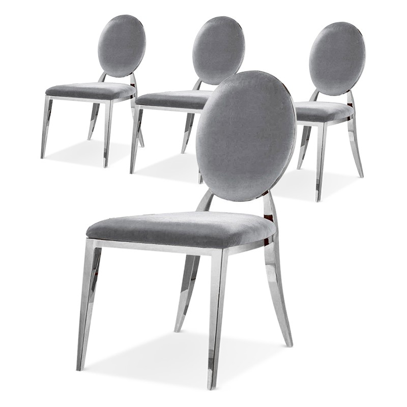 ERA Silver Velvet Medallion Chairs Set of 4