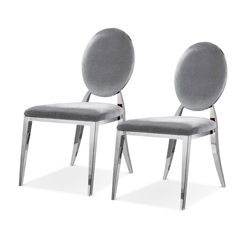 ERA Silber Samt Medaillon Stühle Satz von 2