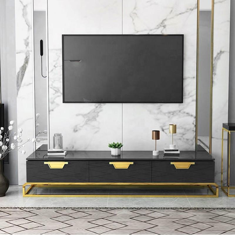 Soporte de televisión de diseño con patas doradas Oro