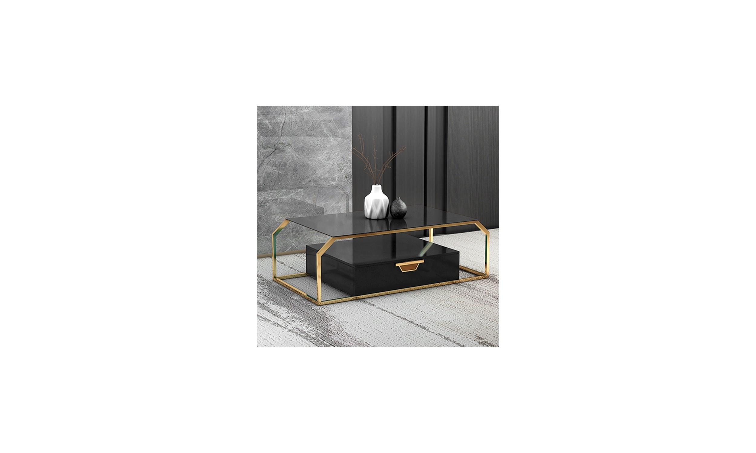 Table basse design couleur or et noir Oro